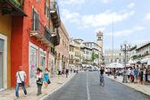 Via della costa to Piazza delle Erbe in Verona — Stock Photo
