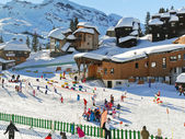 Ski children area in Avoriaz town in Alps, France — Stock Photo