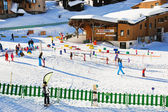 Ski children zone in Avoriaz town in Alps, France — Stock Photo