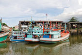 Living ships on chao phraya river in bangkok — Stock Photo