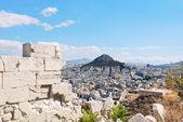 Visa för lycabettus mount i aten staden — Stockfoto
