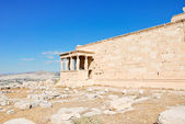 View of Porch of the Caryatids on Acropolis hill — Stock Photo