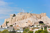 Reconstruction of temples on Acropolis hill, Athens — Stock Photo