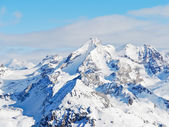 Snow mountains in Paradiski skiing domain — Stock Photo