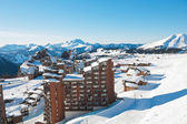 Above view of Avoriaz town in Alps, France — Stock Photo