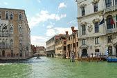 Facades of houses along venetian canal, Venic — Stock Photo