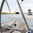Steering wheel of yacht in Adriatic sea — Stockfoto