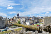 View of town Sedan from castle rampart, France — Stock Photo