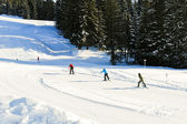 Skiing tracks in Portes du Soleil area, France — Stock Photo