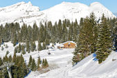 Mountain skiing area in Portes du Soleil region — Stock Photo