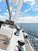 Yacht is tacking in Adriatic sea — Stock Photo