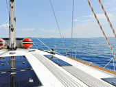 Yacht deck in blue Adriatic sea — Stock Photo