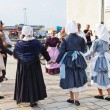 Amateurs in national dresses dancing breton dance — Stock Photo #51139603