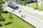 Tramway on street Cours John Kennedy in Nantes — Stock Photo