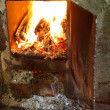 Flame of burning wood in furnace — Stock Photo #51414787