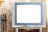 Old CRT TV with cut out screen — Stock Photo
