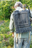 Worker spraying of pesticide on country garden — Stock Photo