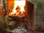 Flame of burning wood in furnace — Стоковое фото