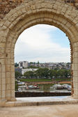 View of urban port from Angers Castle — Stock Photo