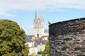 Castle wall and Saint Maurice Cathedral in Angers — Stock Photo