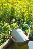 Trough with water for garden watering — Stock Photo