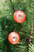 Two red balls christmas decoration — Stock Photo