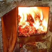 Burning wood in furnace with open door — Stock fotografie