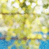 Rain drops on window glass after summer shower — Foto de Stock