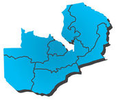 Vector map of Zambia — Stock Vector