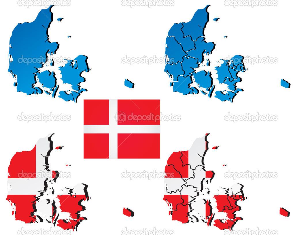 矢量地图的丹麦充满国家国旗的