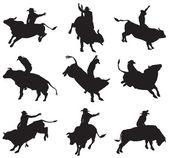 Rodéo sur des taureaux — Vecteur