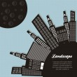 Vector de stock : Silhouettes of buildings