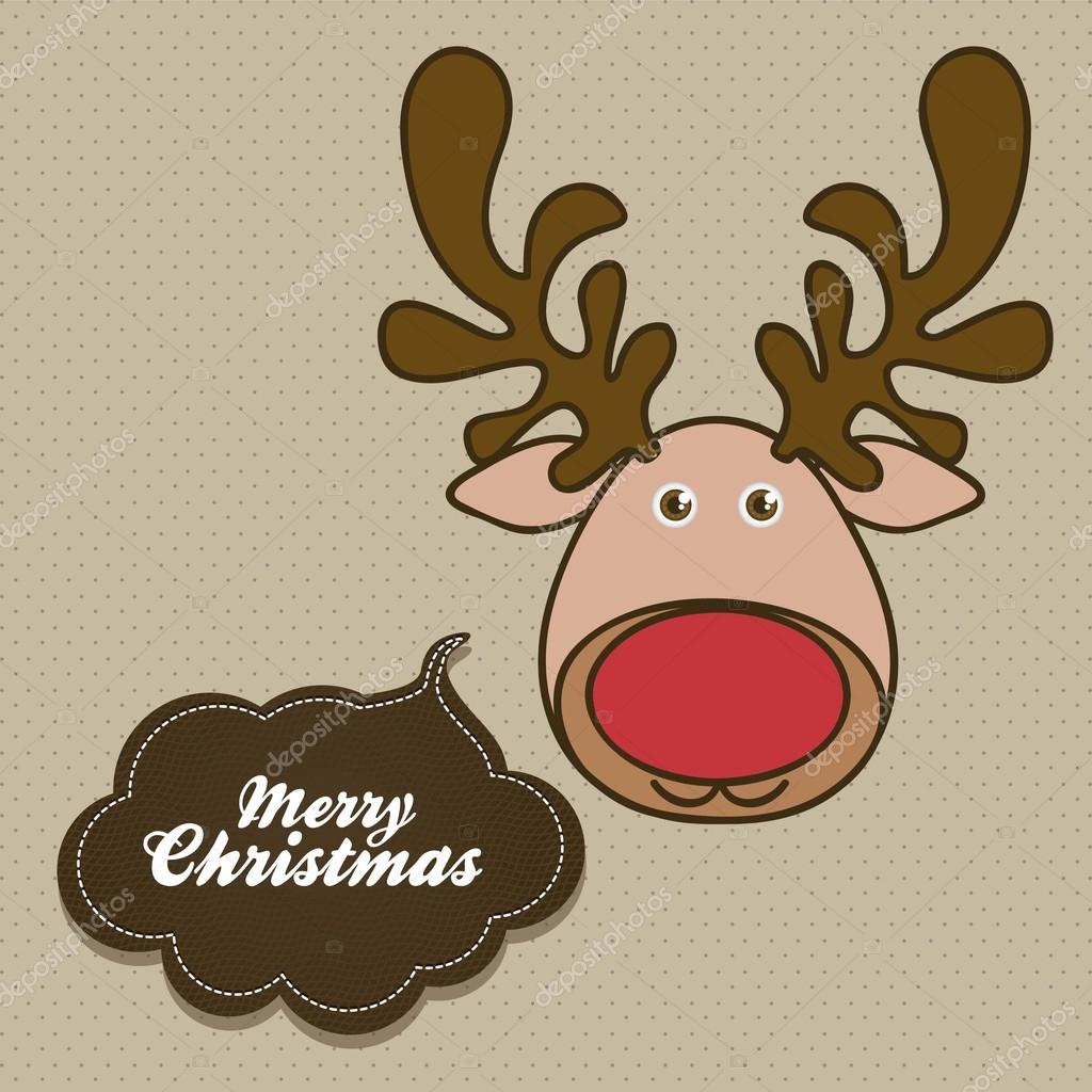 Illustration of cartoon Christmas Reindeer, Rudolph the reindeer, vector illustration — Stock Vector #12598987