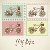 Pastel colored bikes — Stock Vector