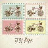 Pastel colored bikes — Stock Vector
