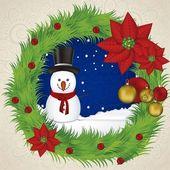 Снеговик в венке — Cтоковый вектор