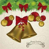 Christmas golden bells — Stock Vector