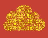 Cloud composed technological icons — Stock Vector