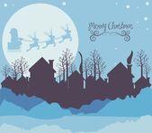 Neighborhood on the Christmas eve — Stock Vector