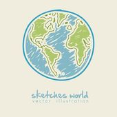 Sketch illustration of planet earth — Stock Vector