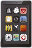 Tablet s ikonami — Stock vektor