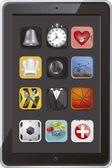 Tablett med ikoner — Stockvektor