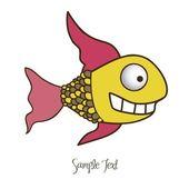 Illustration of fish Drawings, aquatic animals, vector illustration — Stock Vector