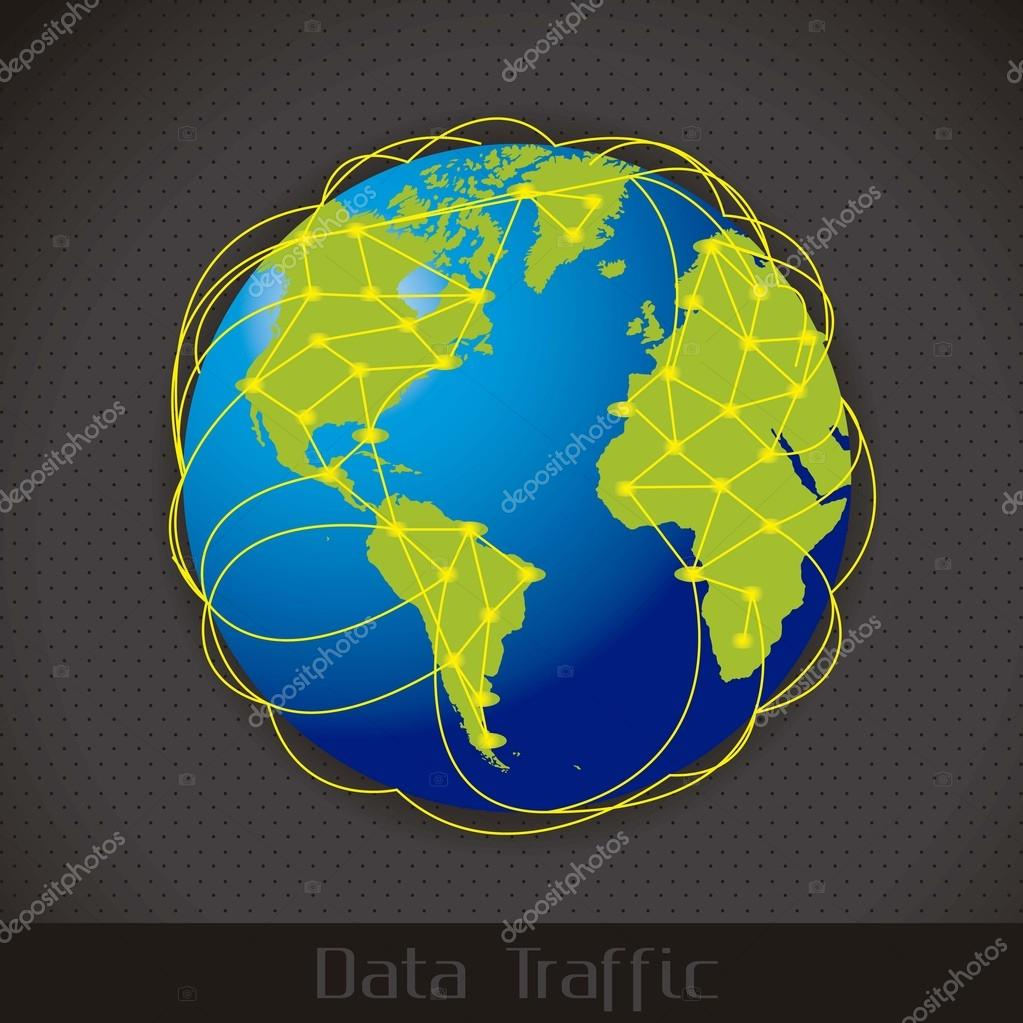 Illustration of Internet Data Traffic, lines of communication planet, vector illustration — Stock Vector #13619772