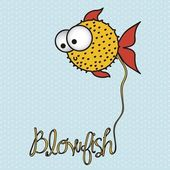 Illustration of blowfish — Stock Vector