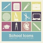 School icons — Vecteur