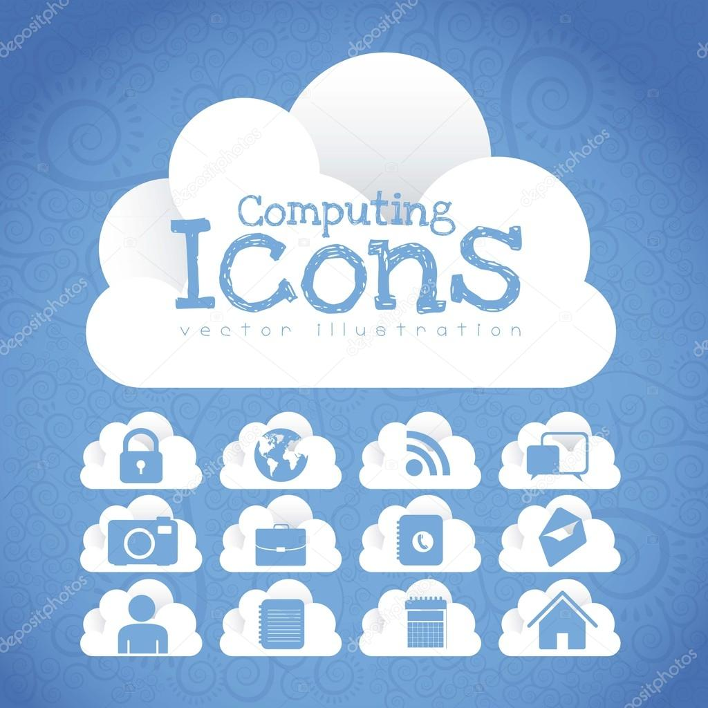 Cloud Icons. Cloud Internet, telecommunications and networks wirh icons, vector illustration  Stock Vector #14498671