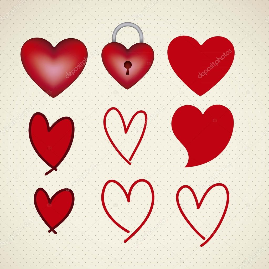 Illustration of love icons with hearts, vector illustration  Stock Vector #17122871