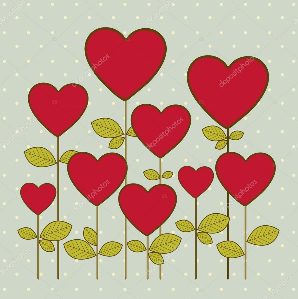 Illustration of hearts flowers, love icons, vector illustration — Stock Vector #17123963