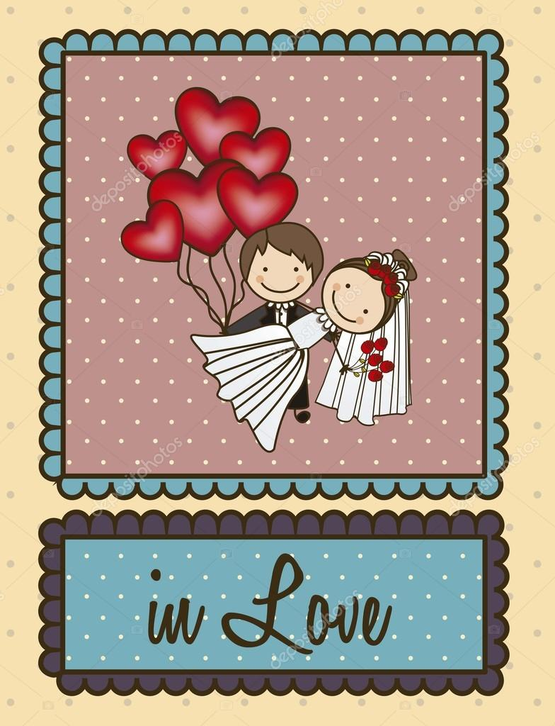 Illustration of couple with hearts balloons, love icons, vector illustration — Stock Vector #17170285